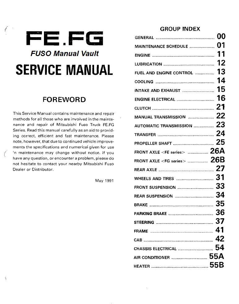 1992 1995 mitsubishi fuso fe fg truck service manual pdf download rh mitsubishifuso manualvault com mitsubishi fuso service manual free 2007 mitsubishi fuso service manual